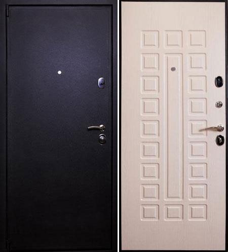Дверь стальная Лекс 3 черный крокодил - беленый дуб